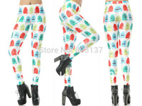 Lycra Mid Fashion 2014 POPSICLE WHITE Leggings Colorful Expression Digital Print Pirate Costume Pants For Women Drop Ship Supernova Sale S117-328
