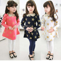 Wholesale Korean Girl Dress Fashion Dresses Princess Dress Children Clothes Kids Clothing Spring Autumn Dress Short Children Dresses Kid Shirt Dress