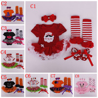 Wholesale Girls Chrismas Cloth pc Set Halloween Santa Rainbow romper Skirt crib shoes pc sets pc romper skirt headband leging shoes