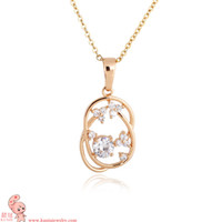 Chains Fashion Pendants 18K RGP Swiss Cubic Zircon Diamonds Flower Pendant Necklace (KUNIU D0391) FREE SHIPPING
