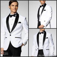 Wholesale Top Selling New White Jacket With Black Satin Lapel Groom Tuxedos Groomsmen Best Man Suit Men Wedding Suits Jacket Pants Bow Tie