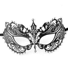 Rhinestone Laser Cut Metal Venetian Mask Halloween Masquerade Mask,Black