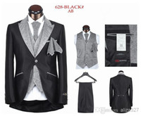 Polyester Reference Images One Button Free shipping 2014 hot sale Mens Suits Wedding Groom Suit men for wedding one button with Gray Lapel five pieces black white sliver