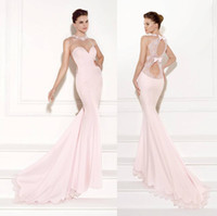 Reference Images High Neck Chiffon Tarik Ediz 2015 Sheer High Rounded Neckline Pink Prom Dresses Bow Backless Lace Ruched Court Train Applique Party Evening Gowns