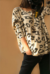 Wholesale Celebrity Style Animal Leopard Print Batwing Long Sleeve Autumn Spring Sweater Women s Loose Pullover Shirt W556