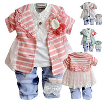 Wholesale New cute baby lace suit baby girls flower casual clothing set stripe online clothes bebe girls wear sets