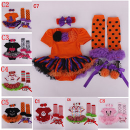 Wholesale Halloween Chrismas Girls Cloth pc Set Sant romper Skirt crib shoes Ruffled lace legwarmer headband outfit