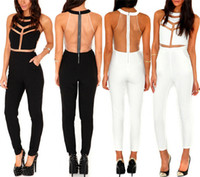Acetate Regular Hollow Out Club Wear 2014 Fashion Women Clothing Bodysuit Hollow Out Overall Rompers Jumpsuit Bandage Black & White Punk Sexy Crop Top M3-2