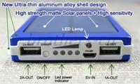 оптовых панель солнечных батарей-Солнечное зарядное устройство и батарея 5 Цвет панели солнечных батарей 30000mAh Dual USB LED зарядка порта питания банка с пакетом Разъем для подключения сотового телефона
