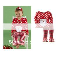 Girl Spring / Autumn O-Neck Wholesale-New wholesale baby clothes set shirt+legging pants 2pcs Girl's casual wear toddler's Christmas pajamas suit Free shipping