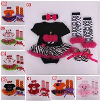 Girl baby crib brands - infant baby Halloween Chrismas pc Set New year Zebra romper Skirt crib shoes Ruffled lace legwarmer headband outfit Polar dot Santa