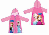 Wholesale Latest version Children Rain Cape Cartoon Pattern Frozen Elsa Anna Design Kids Childs Raincoat PVC Hooded Kid Child Rain Coat