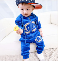 Wholesale 2014 Children Baby Boys Girls Clothes Set Outfits Pleuche Monkey Autumn Gilding Hoodies Jackets Trousers Blue Red Kids Clothing K1020