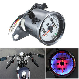 LED Universal Motorcycle Classic Dual Odometer Speedometer Speed Gauge Backlight