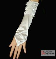Wholesale LONG Length Stretch SATIN Black White Gloves Bridal Wedding Prom Opera Beaded Pearl Lace Satin Bridal Gloves
