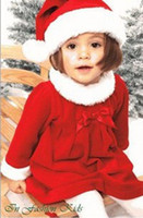 Wholesale newest baby girls Christmas suit baby hat dress best gift for New Year set