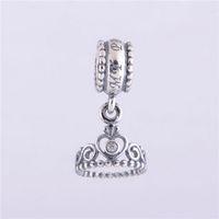 Wholesale 925 Sterling Silver Charms Original Screw Thread Crimp End LW209 Crown Pendant Beads Compatible With European Pandora Bracelets