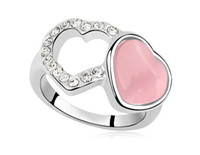Band Rings Women's Party White Gold Plated Opal Cat Eye Stone Heart with Heart Wedding Rings Love Alliance the Lord of the Rings 18k