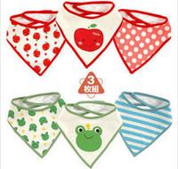 Wholesale newborn Baby Waterproof bibs Baby wear accessories kids cotton apron handkerchief children animal bib burp cloths triangular bandage