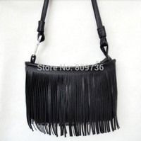 Wholesale 1PC New Fashion Vintage Hippie Boho Suede like Fringed Shoulder Bag Tassel Crossbody Bag Women package Colors