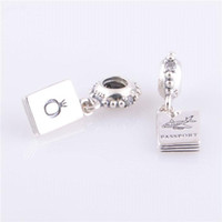 Wholesale 925 Sterling Silver Charms Original Screw Thread Crimp End LW255 Passport Dangle Jewelr Beads Compatible With European Pandora Bracelets
