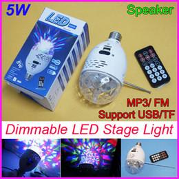 Wholesale 5W LED Stage Light Crystal Ball Effect Light Control Digital LED Bulb MP3 Speaker FM Radio Support USB TF card Music Play for home DMX DJ