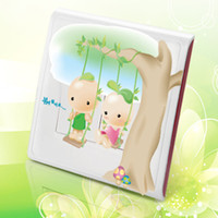 Wholesale Translucent green beans baby cute cartoon switch stickers affixed to fashion creative home decor switch socket wall stickers