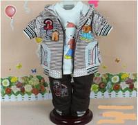 Boy Spring / Autumn Hooded Wholesale-2012Autumn styles baby boy's cool cartoon bear clothing set (coat+tee shirt+pants)3pcs suits children striped suits 3sets lot