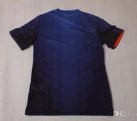Tailandia de la calidad de la Copa Mundial de Holanda camisas ausentes azul del fútbol de los jerseys del bordado del logotipo # 9 Van Persie Número Nombre orden mezclada