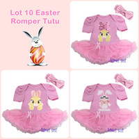 Wholesale Easter Light Pink Bodysuit Tutu Bunny Rabbit and Headband NB M