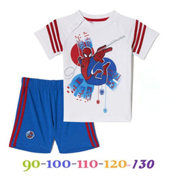 Wholesale 5 sets NEW boys Spider Man T shirts shorts Summer suit kids baby T shirt children Clothing