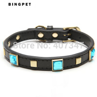 antique dog collar - MOQ real leather square beads dog collar perro alloy buckle antique plated pet products