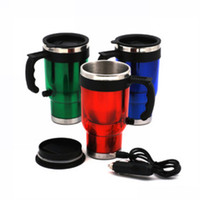 Stainless Steel ECO Friendly Lens Wholesale-New 500ml Electric Stainless Steel Travel Car Coffee Tea Heated Cup Mug 12V For Vehicle Auto Small Appliances Free Shipping