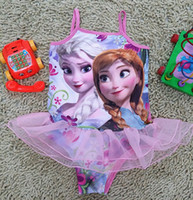 Wholesale Frozen Elsa Anna Girls Ruffles Tulle One Piece Swimwears Summer Children Baby Bikini Bathing Clothes Kids Swim Suit Pink K1024