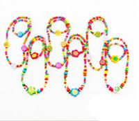 Acrylic Bracelet Jewelry Sets CHILDREN JEWELRY SET GIRL MIXED CUTE WOOD BEADS NECKLACE BRACELET SET New Baby Kids Gifts 36sets lot