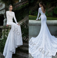 A-Line attractive pictures - attractive popular pure Lace sheer chic Wedding Dress see through high Neckline low v back long bridal gown