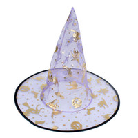 Wholesale 12 Spider Web Pattern Pointy Top Hat Ghost Festival Cosplay Prop Halloween Fancy Ball Carnival Gauze Witch Caps for Kids Children