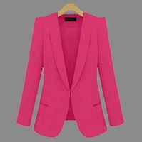 Wholesale S XL Hot Spring Autumn Suits Fashion Women Plus Size Suit Blazers Long Sleeve Blazers Coat Jacket Clothes Ladies OL Work Blue Black