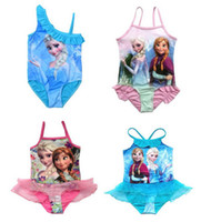 Wholesale 2014 Girls Baby Swimwear Toddler Swimsuit Frozen Queen Elsa Anna Peppa Pig One piece Years Tankini Bathing Bather