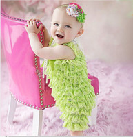 Wholesale 2014 Retail Baby Lace Romper Infant Posh Petti Ruffle Rompers with Strap and Ribbon Bow Kids Bodysuit Jumpsuit Sizes