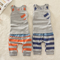 Wholesale 2 Colors Children Summer Outfits Cool Tank Tops With Little Pocket Striped Short Pants Kids Cool Casual Suits Sets