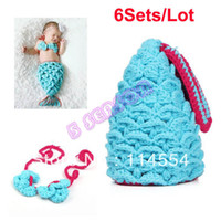 Girl Spring / Autumn Sleeveless Wholesale-6Sets Lot Wholesale Baby Costume Girls Boy Newborn-9M Knit Crochet Mermaid Clothes Photo Photography Prop Outfits 18374