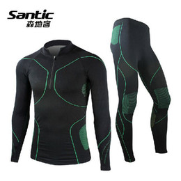 Wholesale 2014 SANTIC Cycling Suits Men s Long Sleeve Underclothes Outdoor Sports Thermal Underwear Wrestling Singlet Pants Black Green