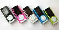 Wholesale Cheap Mini Clip Mp3 player with screen LED light earphones usb cables retail box support Micro SD TF card GB Sport Mp3