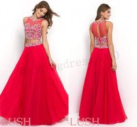 Wholesale Prom Dresses Red Jewel Capped Sleeve Separated Skirt Indian Style Formal Gowns Beads Sexy Exotic India Prom Dresses