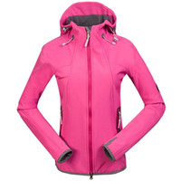 Women Active Lapel Neck Wholesale - -pink 2014 HOT! Free shipping, real Women hooded mammoth charge clothes windproof and waterproof clothes soft shell jacke
