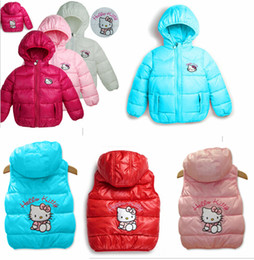 Wholesale Retail children s outerwear hellokitty Girl Hooded jacket baby coats color can choose