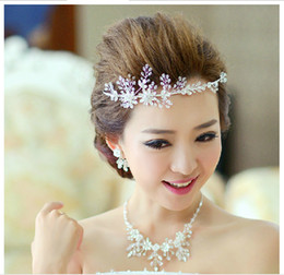 Wholesale 2014 New Arrival Bridal Jewelry Europe Style Manual Earrings Necklace Hair Beaded Decoration Sets of Chain Wedding Accessories Three Pieces