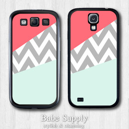 Wholesale Mint Coral Chevron Block Hard Black Hard Cover Case For Samsung Galaxy S4 i9500 S3 i9300