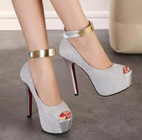 Wholesale fashion red soles wedding bride shoes sexy thin high heels platform pumps ladies ankle strap women high heel shoes